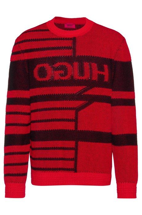 Jacquard-knit reverse-logo sweater in virgin wool, Red