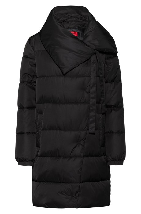 Regular-fit water-repellent puffer coat with oversized collar, Black