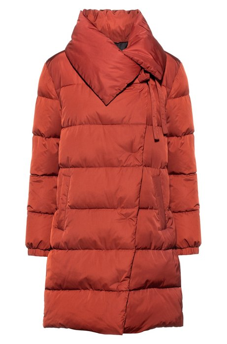Regular-fit water-repellent puffer coat with oversized collar, Brown