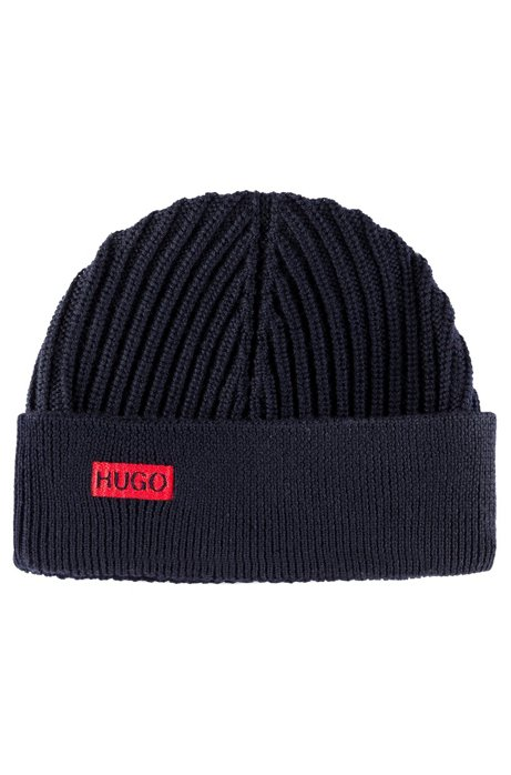 Ribbed beanie hat in merino wool with embroidered logo, Dark Blue