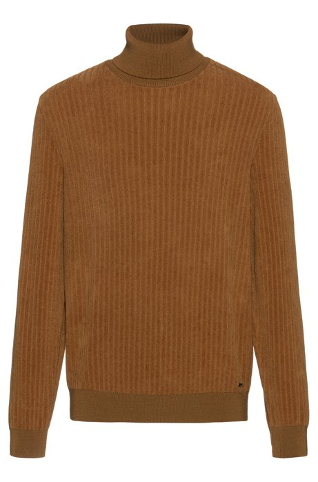 Unisex sweater with corduroy structure, Light Brown