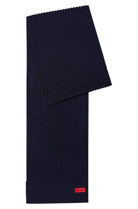 Ribbed scarf in merino wool with logo embroidery, Dark Blue