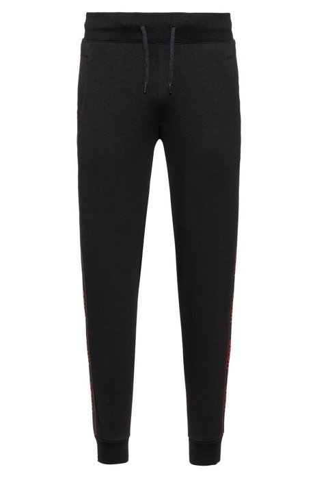 Regular-Fit Jogginghose mit Logo-Tape, Schwarz