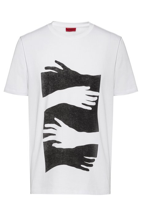 T-shirt Regular Fit en coton avec illustration imprimée, Blanc