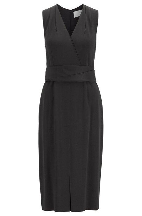 Sleeveless dress in Italian crepe with pleated V neck, Black