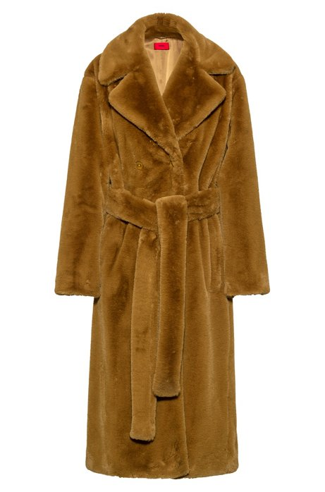 Cappotto relaxed fit in pelliccia sintetica con cintura, Marrone