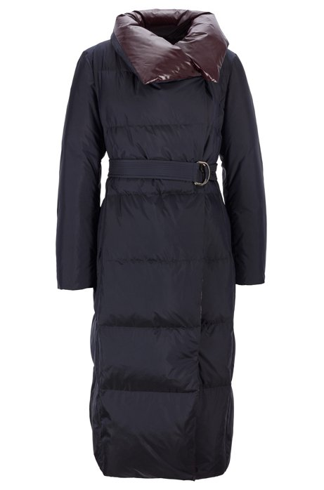 Regular-fit padded coat with belted closure, Dark Blue