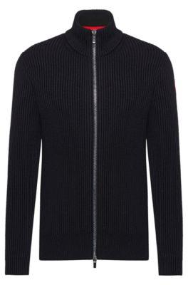 Regular-fit vest van een mix van katoen en wol, Zwart