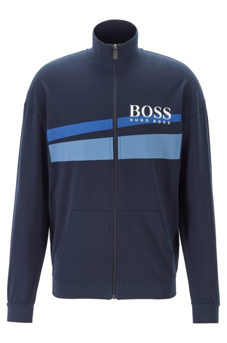 Zip-through loungewear jacket with two-tone logo print, Dark Blue