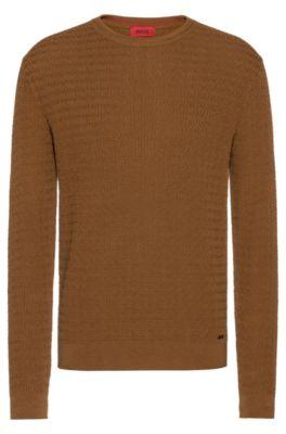 Pullover aus Baumwolle mit Rundhalsausschnitt und markanter Struktur, Khaki
