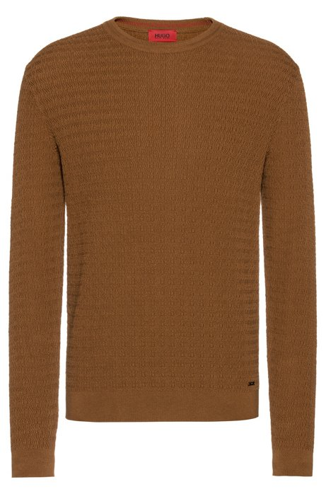 Crew-neck sweater in cotton with racked-stitch structure, Khaki