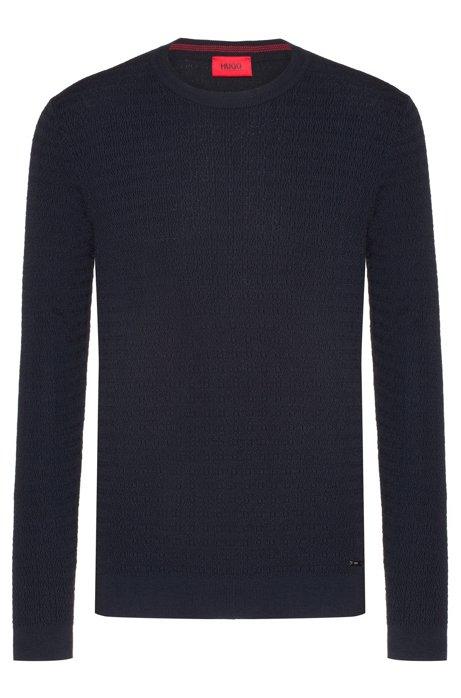 Crew-neck sweater in cotton with racked-stitch structure, Dark Blue