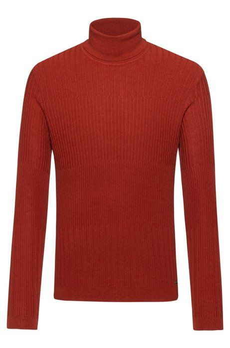 Extra-slim-fit sweater with degradè rib, Brown