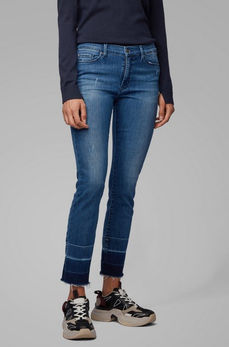 Skinny-fit jeans in red-cast mid-blue denim, Blue