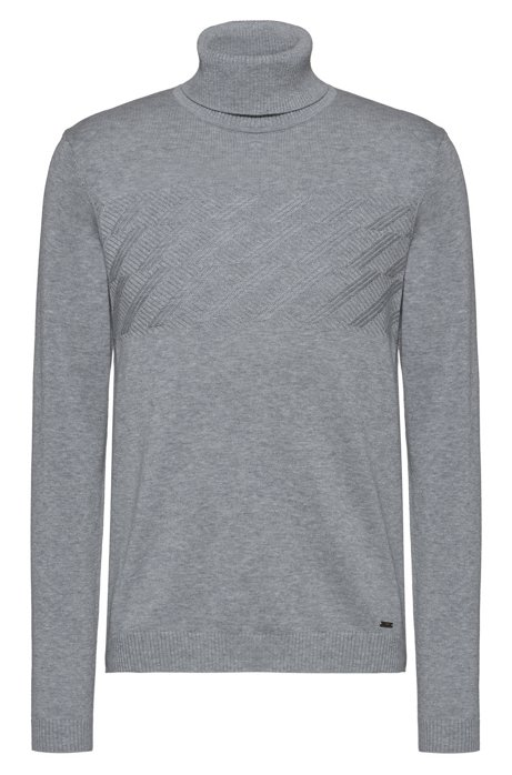 Slim-fit turtleneck sweater with structured panel, Grey