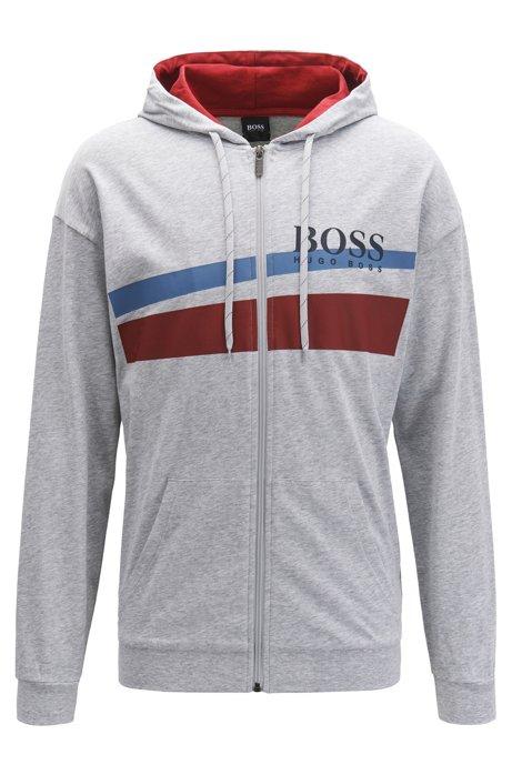 Hooded loungewear jacket with two-tone logo print, Grey