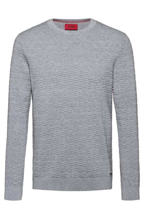 Lightweight cotton sweater with ottoman structure, Grey