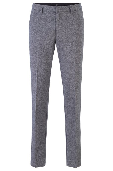 Slim-fit chinos in mouliné stretch twill, Silver