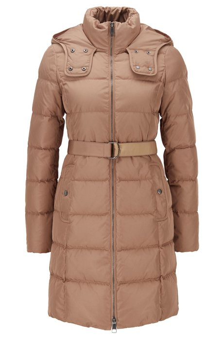 Hooded down jacket with water-repellent outer, Light Brown