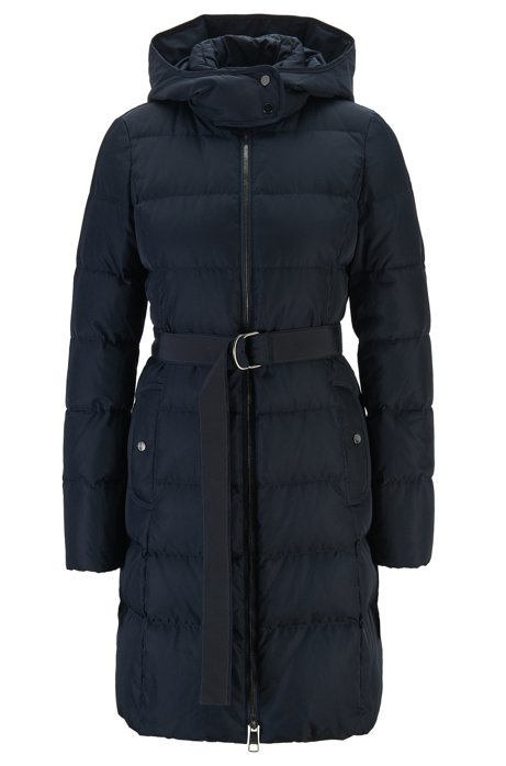 Hooded down jacket with water-repellent outer, Blue