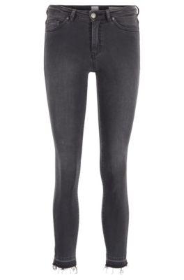 Jeans skinny fit in denim grigio super elasticizzato, Grigio scuro
