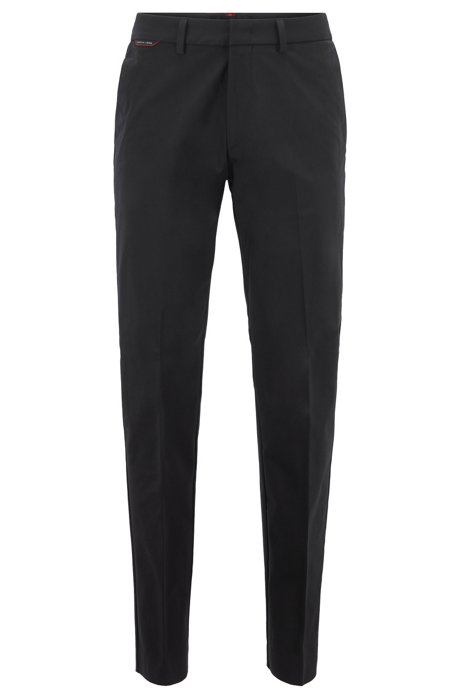 Regular-fit trousers in bi-stretch fabric with dynamic cutlines, Black