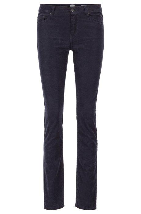 Slim-fit jeans in overdyed stretch-cotton corduroy, Dark Blue