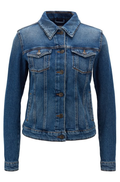 Regular-fit jacket in mid-blue stretch denim, Dark Blue