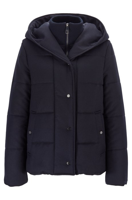 Relaxed-fit padded flannel jacket with zip-through inner, Dark Blue