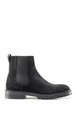 Suede Chelsea boots with lug sole, Black
