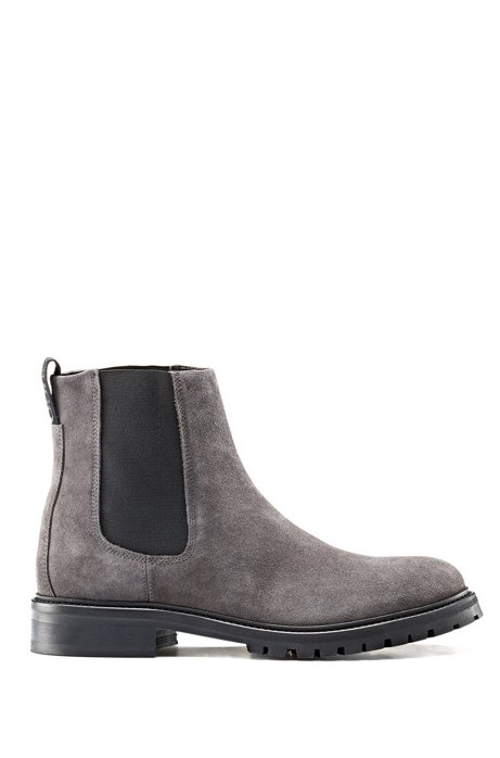 Suede Chelsea boots with lug sole, Dark Grey