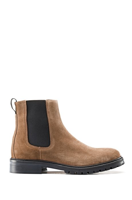 Suede Chelsea boots with lug sole, Brown