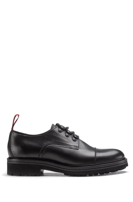 Leather Derby shoes with hiking laces and lug sole, Black