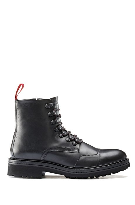 Lace-up boots in leather with lug sole, Black