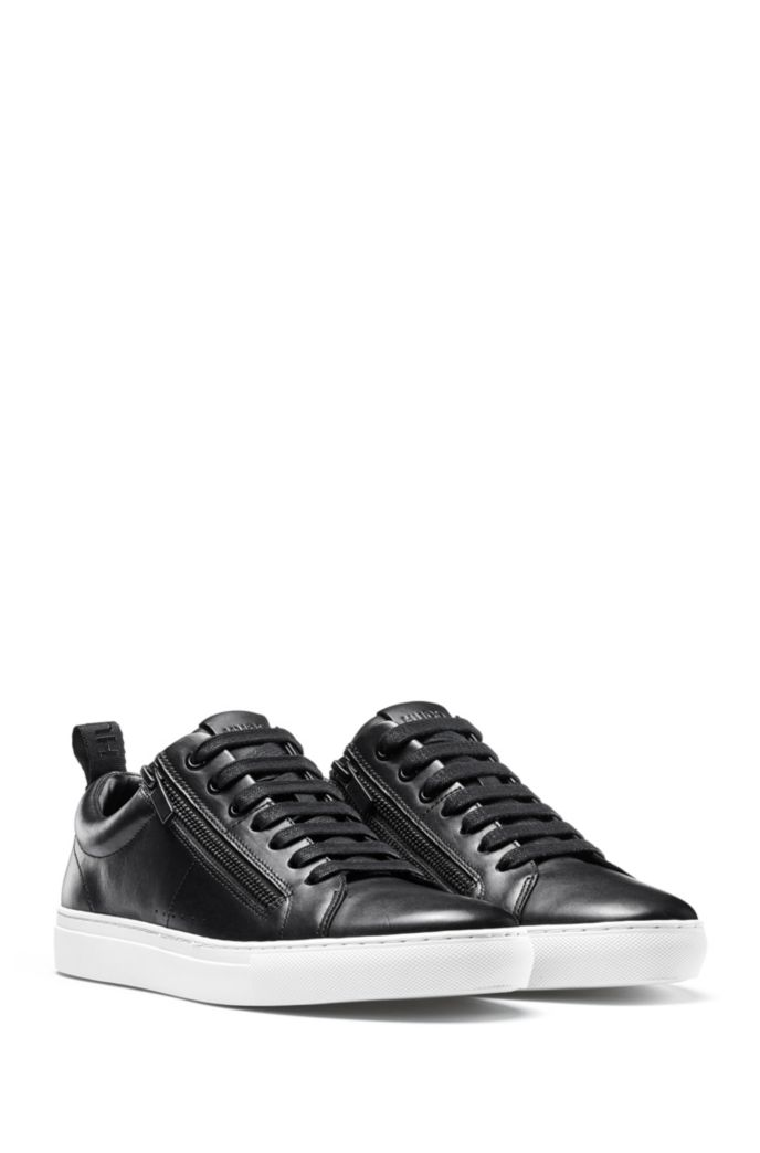 Sneakers low-top in nappa con zip laterali