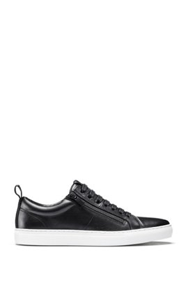 Low-top trainers in nappa leather with side zips, Black