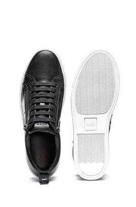 Sneakers low-top in nappa con zip laterali, Nero