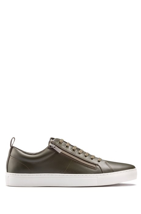 Sneakers low-top in nappa con zip laterali, Verde scuro