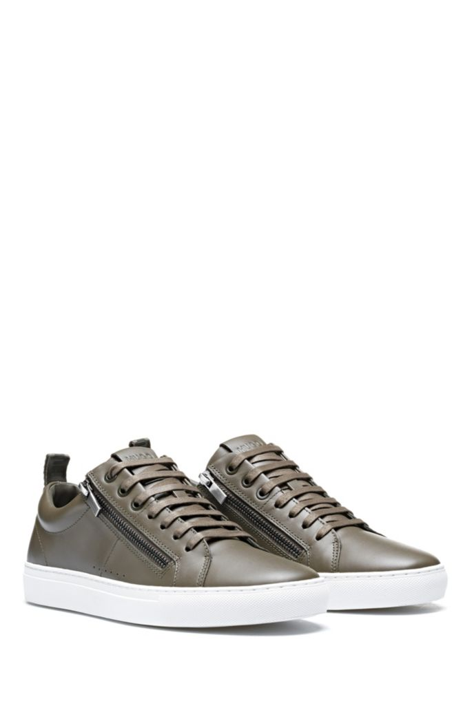 Low-top trainers in nappa leather with side zips