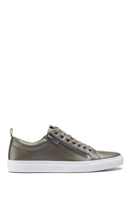 Low-top trainers in nappa leather with side zips, Dark Green