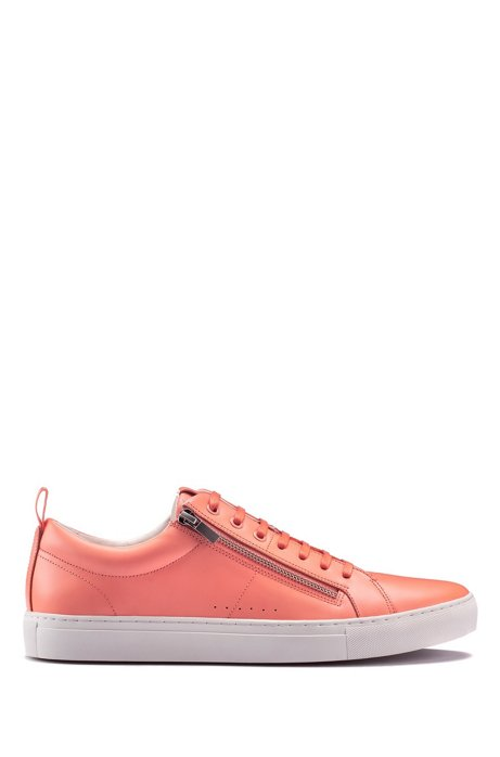 Low-top trainers in nappa leather with side zips, Pink