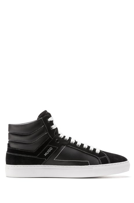High-top trainers in coated canvas and suede, Black