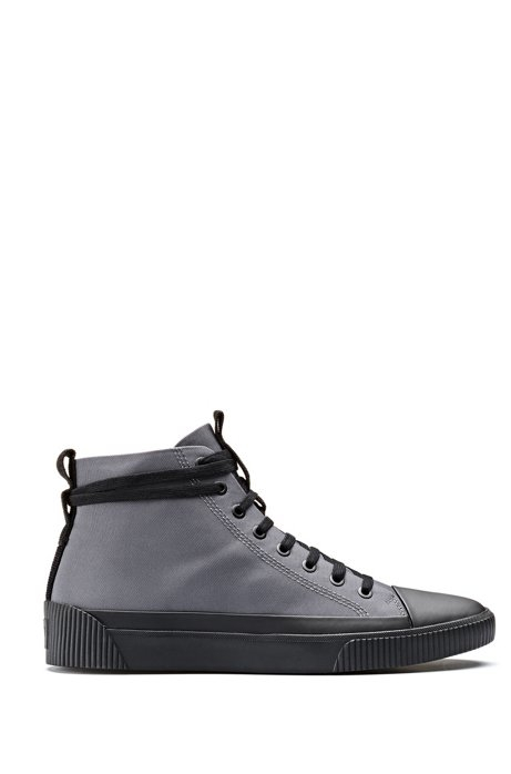 High-top nylon trainers with reverse-logo patch, Dark Grey