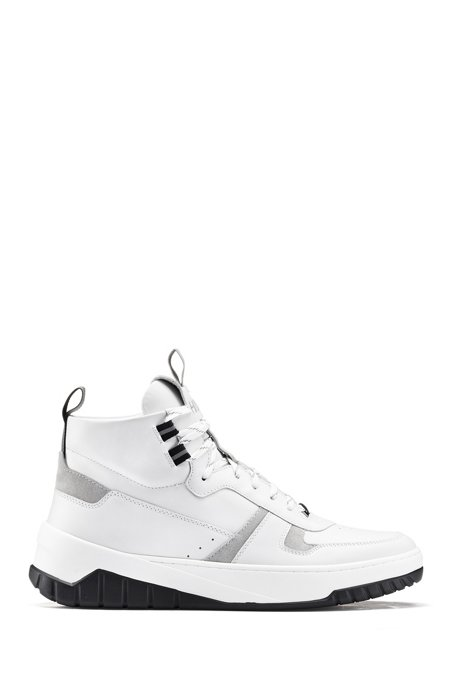 High-top trainers in nappa leather and suede, White