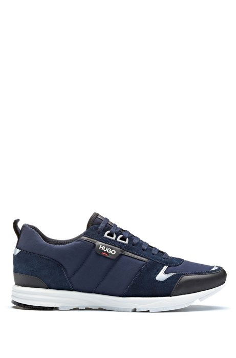 Low-top trainers in leather, suede and structured nylon, Dark Blue