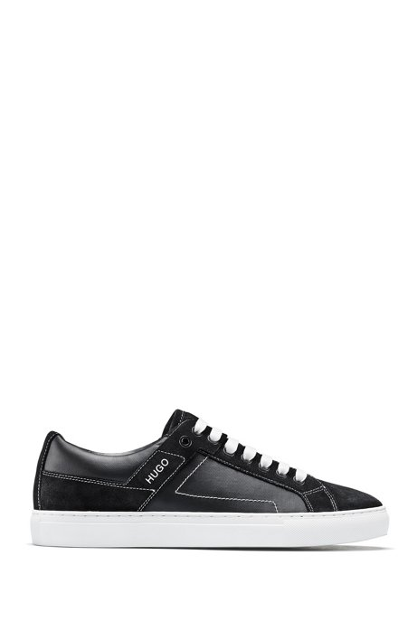 Low-top trainers in coated canvas with suede trims, Black