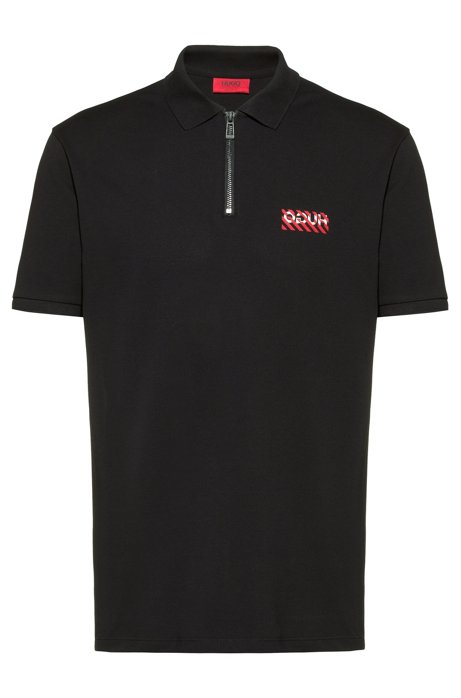Regular-fit polo shirt with zip neck , Black