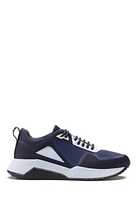 Sneakers low-top in neoprene goffrato, Blu scuro