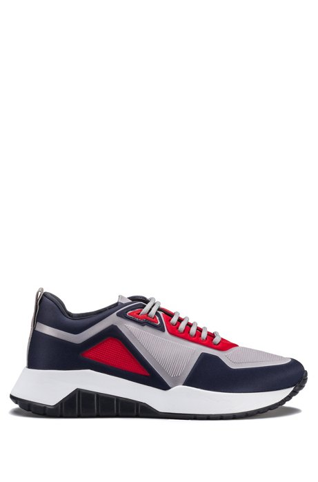 Sneakers low-top in neoprene goffrato, Blu