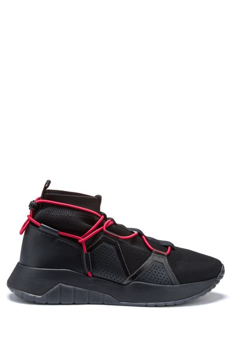 Chunky running-style trainers with knitted sock, Black